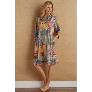 Soft Surroundings Summer Fest Dress Mixed Print